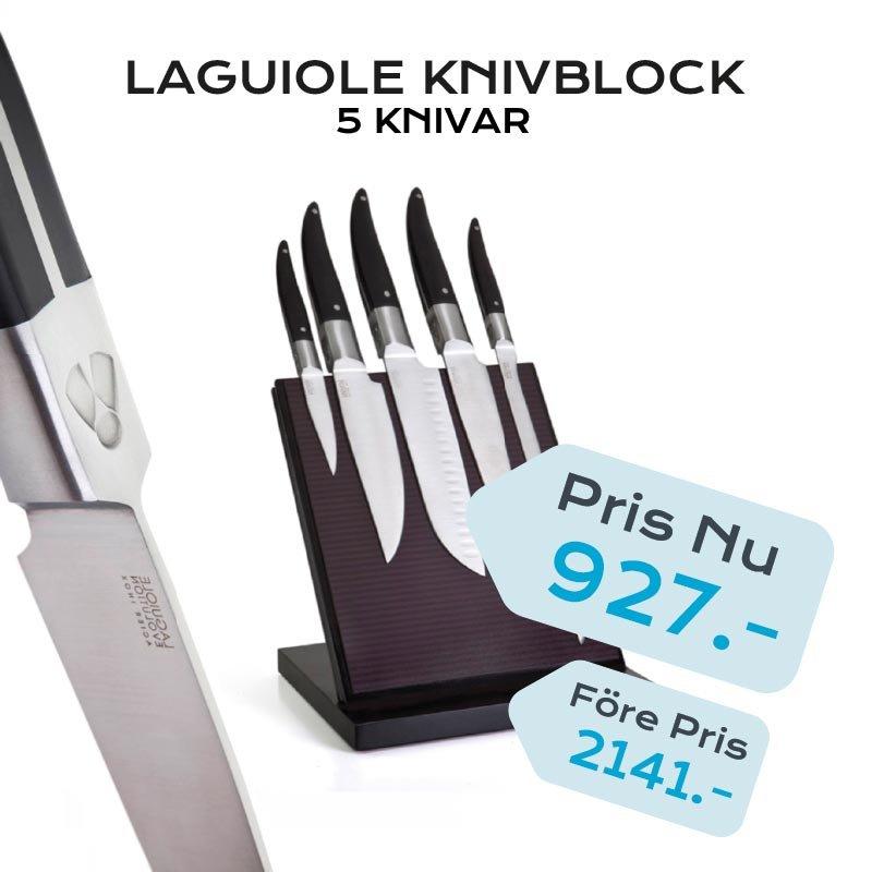 LAGUIOLE KNIVBLOK 5 KNIVE COUTEAUX