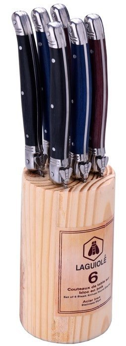 Laguiole 6 Steakknive I Træholder
