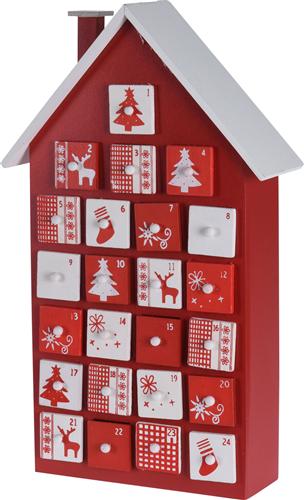 Julekalender I Træ M. Skuffer Formet Som Hus Str. 28x8x40 Cm