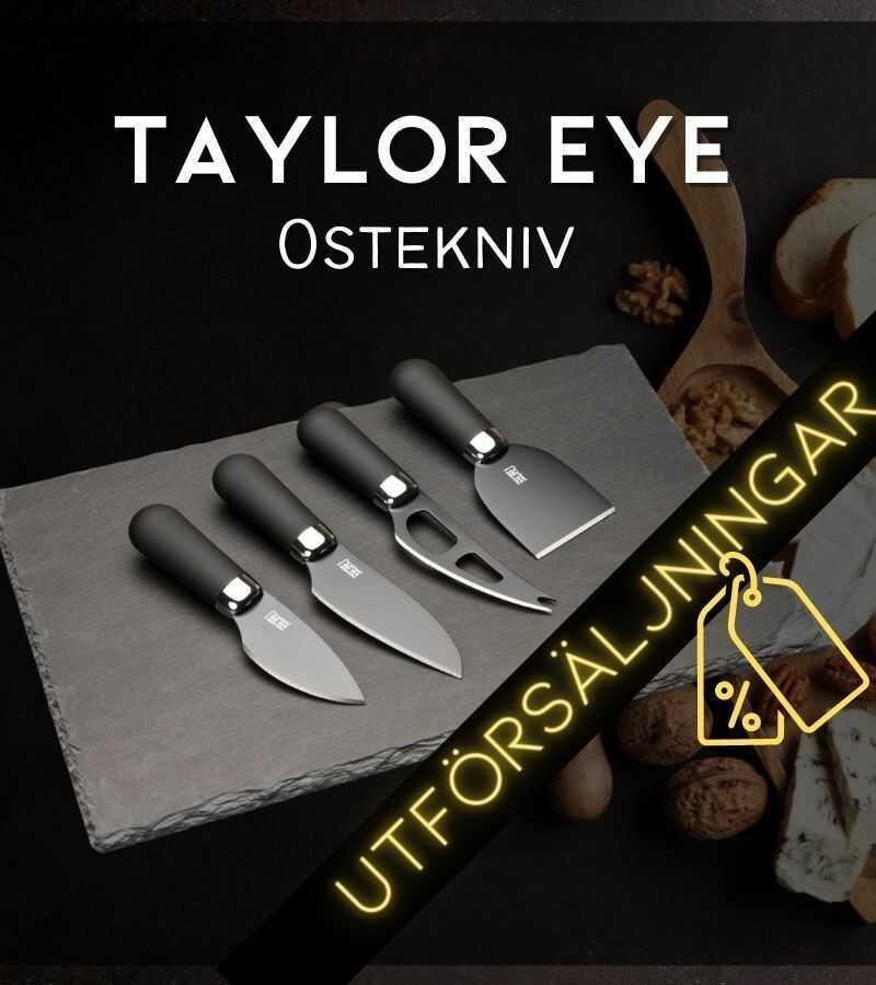 TAYLOR EYE WITNESS OSTESÆT MED 4 STK. KNIVE + PLADE